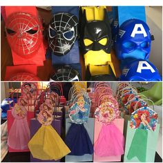 DIY party favors for twins superheroes and princesses 4th BDAY party!