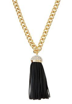 Giselle Black & Gold Fringe Pendant Necklace Rhinestone Necklace, Tassel Necklace, Pendant Necklace, Charm Jewelry, Jewelry Necklaces, Black Gold, Cocoa, Lobster Clasp, Polyvore