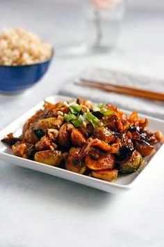 These tender roasted Kung Pao Brussels Sprouts are tossed with spicy chili sauce and crunchy peanuts. They work great as a side or served over rice. Vegetarian Recipes, Cooking Recipes, Healthy Recipes, Vegan Vegetarian, Vegan Foods, Veggie Recipes, Asian Recipes, Ethnic Recipes, Vegan Dinners