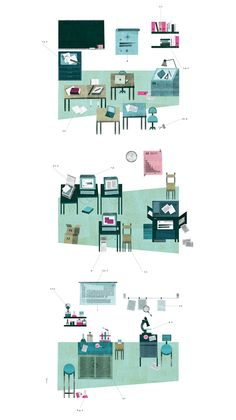 Successful: Illustration by Painomaailma / Lotta Nieminen. - Colour scheme and medium provides atmosphere and tone  - Layering would be an appropriate technique to render multi-dimensional design proposals  - Levels and sequencing  - Would be successful in visually communicating a set of instructions