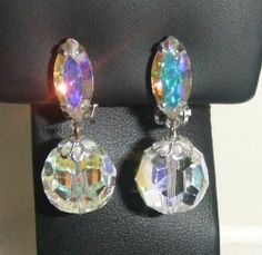 Vintage 60's Clear AB Crystal Dangle Earrings Signed Lewis Segal California | eBay https://www.facebook.com/AColourfulPast