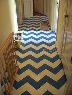 Before & After: A Chevron-Painted Hall Floor   Apartment Therapy