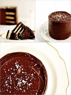 Salted Caramel Chocolate Fudge Cake, are u freaking kidding me right now?! yum!  http://sweetapolita.com/?s=Salted+Caramel+Chocolate+Fudge+Cake