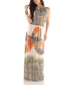 Loving this Orange & Gold Shimmer Fireworks Maxi Dress - Plus on #zulily! #zulilyfinds