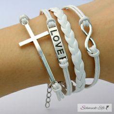Armband Love Kreuz weiß  im Organza Beutel