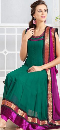 South Indian style zari border anarkali: KSL2482