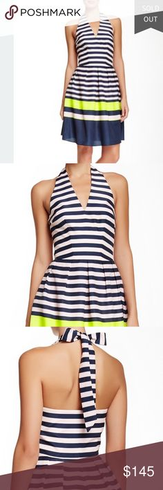 """Ted Baker Candy Striped Sarera Halter dress New Super cute dresses! I have this in a Ted size 2 and 3. These are from a Nordstrom closeout sale so some tags may be cut out or marked out to prevent returns.                                           - Halter neck with self tie closure - Sleeveless - Pleated lower - Allover stripes - Lined - Approx. 30"""" length - Imported Fiber Content: 100% polyester Care: Machine wash cold Ted Baker Dresses Mini"""
