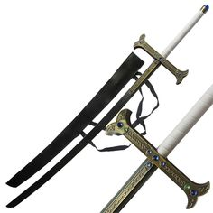 The Yuro sword is known as the strongest sword in the world.  It is currently owned by Dracule Mihawk and is one of the twelve Saijo O Wazamono.  Even thou Yuro is the strongest the blade in the world it can also be gentle it can deflect bullets in a single touch. Mixed with Mihawk's abilities this sword has formidable power. #yuroblackswordmangaanimeseriessword Zombie Weapons, Anime Weapons, Gate Of Babylon, Armas Ninja, Seraph Of The End, Swords And Daggers, Katana, Anime Shows, Dark Fantasy