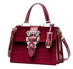 Freyday Sac /à main en cuir v/éritable pour femme avec sac /à bijoux Crocodile rose,