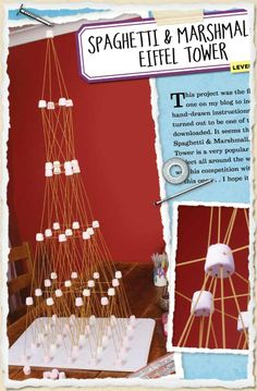 Spaghetti & marshmallow Eiffel Tower.