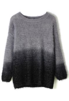 Black Color Ombre Fluffy Sweater - Sweaters - Tops - Retro, Indie and Unique Fashion Beautiful Outfits, Cute Outfits, Casual Outfits, Fluffy Sweater, Ombre Sweater, Tweed, Led Dress, Vogue, Punk