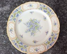 Bavaria forget me not Vintage plate Golden Crown Germany collectible antique gold gilt dish plate kitchen decor