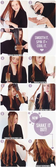 """BLOWOUT WITH A TWIST Want some luscious waves to accompany your blowout? You'll definitely want to try out this """"Blowout With a Twist"""" tutorial from our friends at The Beauty Department. They demonstrate the process on a lady with super long locks, but you don't have to have Rapunzel hair to make this work for you. The trick is to twist your hair with a bristled round brush and blow dry while in that position. Once you release and let your hair cool, the hair will retain its shape."""