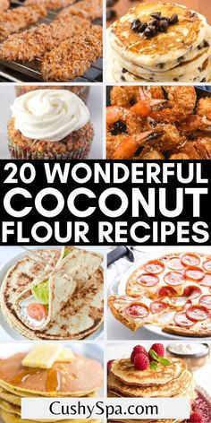 Coconut flour is the perfect low carb substitute for regular flour to make all your favorite baked goods for a ketogenic diet. You can make all kinds of keto-approved foods with these keto coconut flour recipes. #CoconutFlour #Keto Coconut Flour Crepes, Recipes Using Coconut Flour, Coconut Flour Cookies, Flour Recipes, Low Carb Recipes, Cooking Recipes, Carb Substitutes, Keto Approved Foods, Coconut Cheesecake