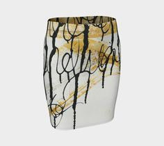 """Fitted+Skirt+""""Black,+White,+and+Brown+Fitted+Skirt""""+by+Paperwerks+--+Kim+Printz"""