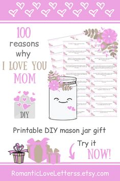 This DIY kit of 100 Reasons Why I Love You is excellent sentimental gift for Mom (thoughtful Mom gift)! Please visit our website to buy it now! Sentimental Gifts For Mom, Personalized Gifts For Mom, Diy Gifts For Mom, Meaningful Gifts, 5 Gifts, Small Gifts, Handmade Gifts, Thank You Mom Quotes, Mothers Love Quotes