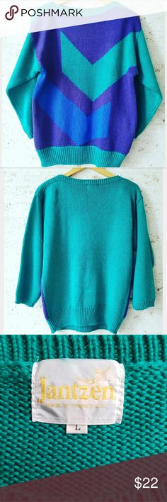 Awesome Vintage Sweater Love the colors of this! Bateau neckline 100% acrylic - very soft Very good vintage condition Vintage  Sweaters Crew & Scoop Necks