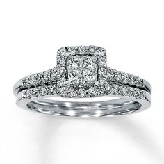A quartet of princess-cut diamonds forms the brilliant center of the engagement ring with round diamonds gracing either side of the band. The exquisite wedding band features a square frame composed of round diamonds to complete the look. Crafted in 14K white gold, this fine jewelry wedding set has a total diamond weight of 5/8 carat.