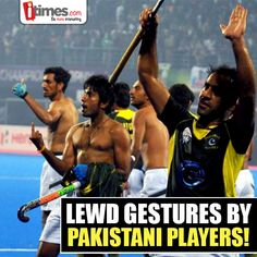 #Pakistani hockey players entered in the hall of infamy when they celebrated their victory over #India with lewd & rude gestures to the fans. Celebrating your success is very different from getting maddened by it! What do you think? Share with us here -
