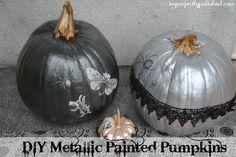 metallic painted pumpkins - Halloween DIY ideas using the Martha Stewart Crafts line of decoupage