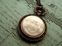 3 MOON Necklace Pocket Watch Style 3 Faces of by lululovestocreate, $40.00