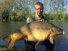 Duncan with Chestnut, a mirror carp of 39lbs 8oz in April 2014 caught on Dynamite Baits Crave. www.frenchcarpandcats.com