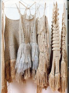 Nikki Gabriel | Hanging thread dresses | Knitted woven | Fringe skirts | Folk | Straw colour | Sundress | Summer |