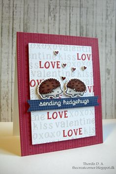 Lawn Fawn - Hedgehugs + coordinating dies, Riley's ABCs, Sweater Weather paper, Large Stitched Rectangle Stackables _ fun Valentine card by Thordis at The Creative Corner: Lawnscaping Challenge Card Making Inspiration, Making Ideas, Valentine Love Cards, Lawn Fawn Stamps, Valentine Decorations, Halloween Cards, Cool Cards, Greeting Cards Handmade, Homemade Cards