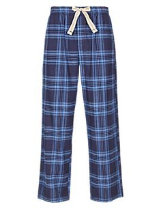 Mix Navy puro algodão verificado Winceyette Pijama Bottoms