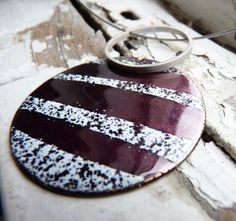 Striped Necklace - Purple and white enamels -  Sterling silver and copper