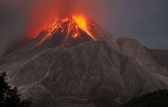 The Soufriere Hills volcano erupting on the Caribbean island of Montserrat, on January 23, 2010.