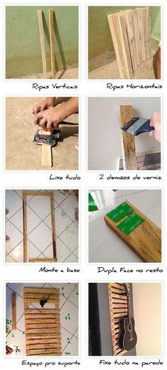 Como fazer um painel de madeira que serve de suporte para violão.