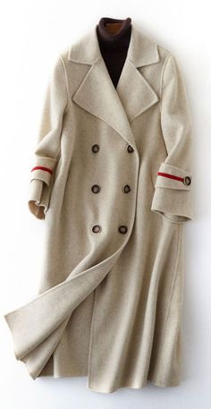 Luxury nude Woolen Coats oversize long winter coat double breast NotchedThis dress is made of cotton or linen fabric, soft and breathy. Makes you look slimmer and matches easlily. Materials used: wool blendedMeasurement:Size length / Long Winter Coats, Winter Coats Women, Coats For Women, Jackets For Women, Long White Coat, Black Fur Coat, Long Black, White Winter Coat, Sweater Coats