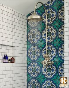 Mediterranean-inspired bathroom in a Victorian terrace house, South-West London. Walk-in shower with Drummonds Dalby Shower with curved arm. Mediterranean floor tiles in sea blues and greens from Rustico Tile & Stone. Bad Inspiration, Bathroom Inspiration, Furniture Inspiration, Furniture Ideas, Victorian Terrace House, Victorian House Interiors, Victorian Home Decor, Victorian Design, Victorian Houses