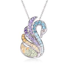 """2.10 ct. t.w. Multi-Stone Swan Pin Pendant Necklace in Sterling Silver. 18"""" - Blogs inspired - Blogs inspired"""