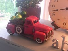 so cute, old toy truck with ornaments