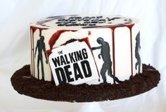 Walking Dead Cake with edible blood and zombie silhouettes -handmade by Finespun Cakes & Pastries