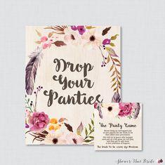 Boho Panty Game  Printable Bohemian by ShowerThatBrideShop on Etsy