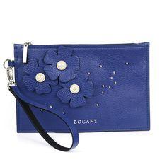Plic Wristlet Bocane Fleur, din Piele Albastru-Imperial - Bocane Italian Leather, Hand Bags, Leather Bag, Handbags, Purse, Women's Handbags, Purses