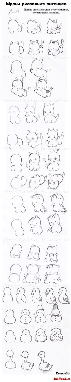 How to draw cute cats, owls, parrots, snowmen, and . . . a goose (?) More