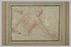 Le Primatice: Homme nu, de dos de 3/4, la tête de profil vers la droite, Le Louvre