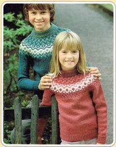 Vintage Knitting Pattern - Fair Isle Knits -Child, Boy, Girl, Children sweater pullover -  PDF Download - Retro - 80's