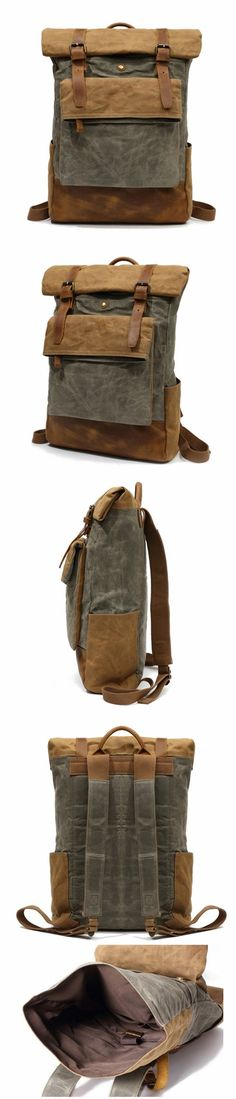 Outing Canvas Leather Rucksack, Casual Backpack, Vintage Waterproof Travel Shoulder Bag 8835 Waxed Canvas, Canvas Leather, Leather Bag, Canvas Backpacks, Natural Leather, Army Green, Laptop Sleeves, Shoulder Strap, Purses