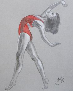 Dancer Sketch 5 Pencil and Coloured Pencil on toned grey paper January, 2015 Reference: Vihao Pham Photography