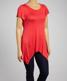 Take a look at this Coral Scoop Neck Sidetail Tunic - Plus on zulily today!