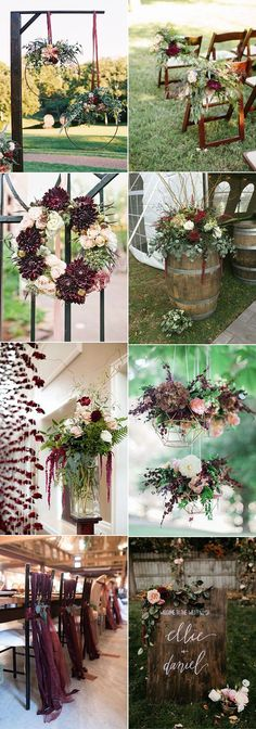 creative burgundy and marsala fall wedding decoration ideas