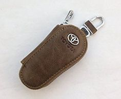 Brown Oil Waxed Leather Toyota LOGO Auto Key Case Bag KeyChain