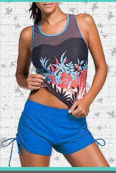 Zando Sporty Printing Tankini With Boyshort Two Piece Retro Swimsuit Beachwear Tank Top Bathing Suit For Women Teen Price:     $17.99 - $22.99 & Free Return on some sizes and colors #Tankini #WomensFashion #Swimdress #swimsuit