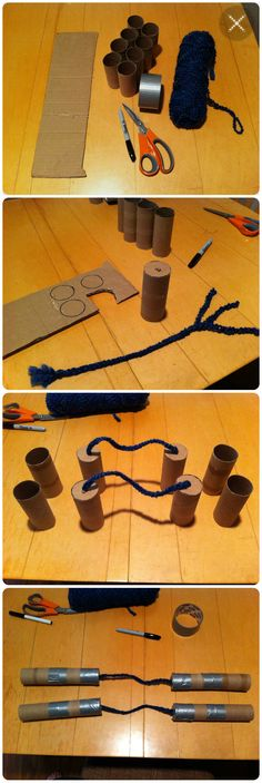 Home-made nunchucks for my Ninja Turtle obsessed son.  You need: 8 Toilet paper or 4 paper towel tubes, roll of duct tape, string or yarn, small piece of cardboard. Cut out 4 disks of cardboard to fit inside the tubes. Poke holes to thread the yarn through. I braided 6 strings of yarn together to make a thicker rope. Thread the yarn braids through the holes in the disks and stick in the end of the tube. Then just tape everything together.