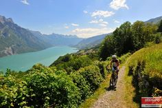 Mountain Biking above the Lake Walen (Walensee).
